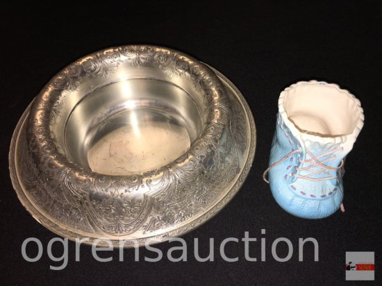 """2 Vintage items -Wedding bowl holder, Wilcox International """"Paisley"""" lacquered silver ornate stamped"""