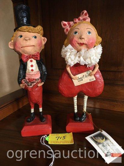Figurines - 2 Valentine whimsical Holiday Folk Art figures - Debra Schoch Hop Hop Jingle Boo