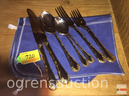 Flatware - Oneida Community, 10 pc. 2-5pc. place settings, gold tone floral accent