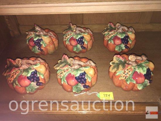 """Dish ware - 6 Kaldun & Bogle ornate pumpkin dishes w/ lids, 5.5""""wx5.5""""h"""