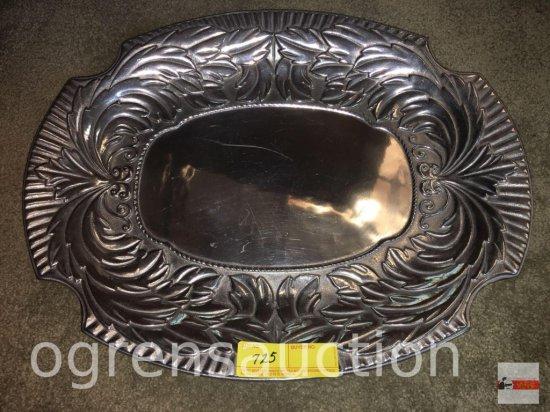 "Tray - Wilton metal ornate oval serving tray, 19.5""wx15.5""w"