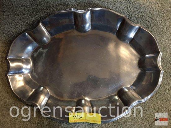 "Tray - Wilton metal oval serving tray, 17.5""wx12.75""w"