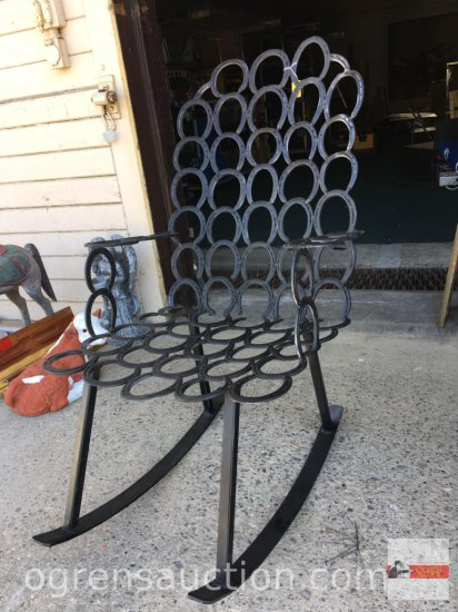 Rocking chair - Iron Horseshoe rocking chair, hand crafted with 69 horseshoes