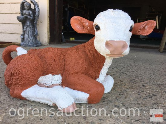 "Yard & Garden Statuary - Cement Hereford calf, hand painted, 22""wx11""h"