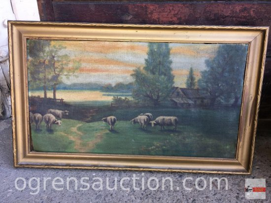 Artwork - vintage oil painting, grazing sheep
