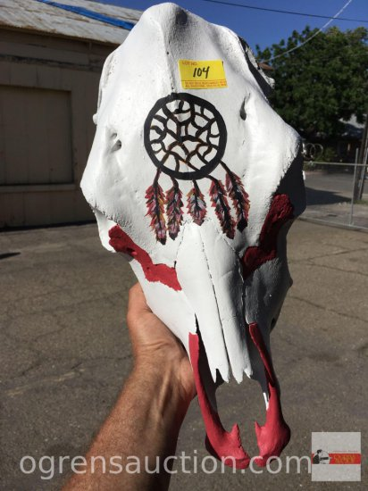 Western Decor - hand painted cow skull