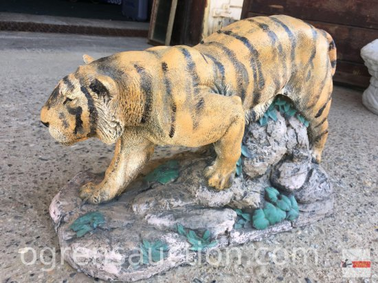"Yard & Garden Statuary - Cement Tiger, hand painted, 18""ws12""h"