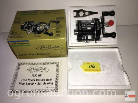 Fishing - Reels - Shakespeare President II 1980 Free Spool Casting Reel, new old stock in org. box