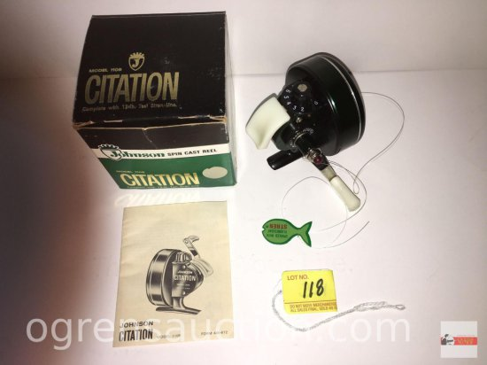 Fishing - Reels - Johnson Spin Cast Reel, Citation model 110B, complete with 12lb test siren line