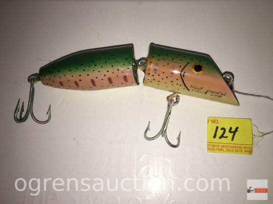 "Fishing - Lures - Lg. signed Kuhn Jig Trout, 7"" green/pink"
