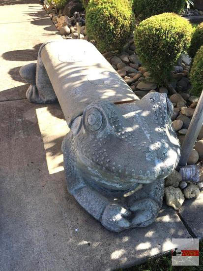 "Yard & Garden - Cement frog bench, 3 pcs., 57""wx23""dx20""h (see lot #95 for Bear bench)"