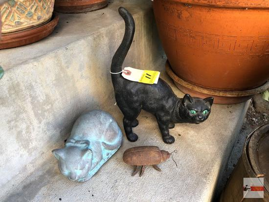 "Yard & Garden - 3 items, cast iron black cat 8""wx11""h, cement kitty 6.5""x4"", cast iron beetle 2""x4"""