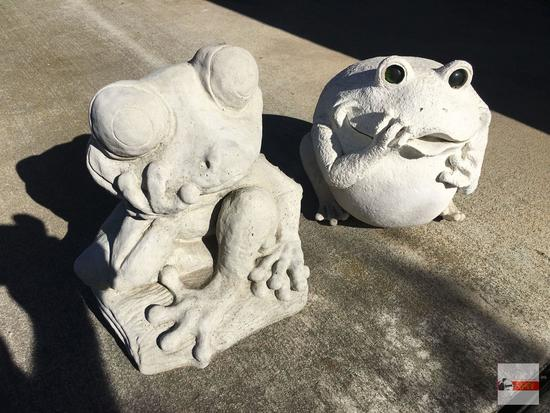 "Yard & Garden - 2 - Cement tree frog statue 12""hx11""w & resin bull frog 9.5""wx10""h, (1 foot as is)"