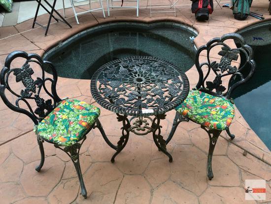"Yard & Garden - cast aluminum bistro table & 2 chairs, grapes motif, 24""wx26""h"