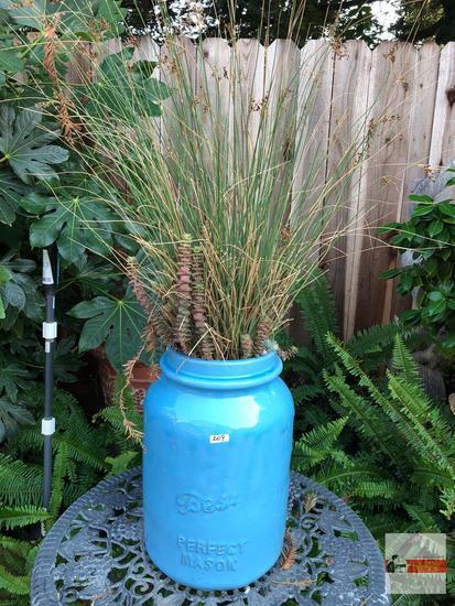 """Yard & Garden - Lg. blue Perfect Mason pottery crock, potted wheat grass, 16.5""""hx11""""w (43""""h)"""