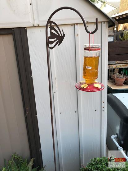 """Yard & Garden - Hummingbird feeder 10""""h on shepherds hook w/butterfly motif 70""""hx12""""w"""