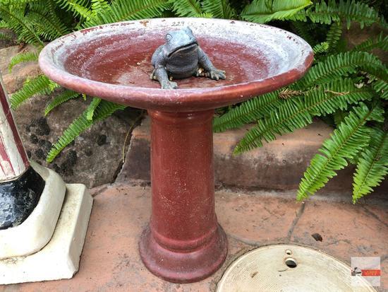 """Yard & Garden - sm. pottery birdbath 12""""wx14""""h with frog 4""""w"""