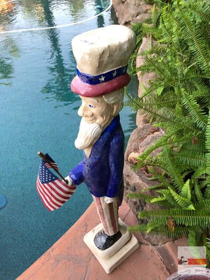 "Yard & Garden - lg. cement Uncle Sam statue 38""hx7.5""wx7.5""d"
