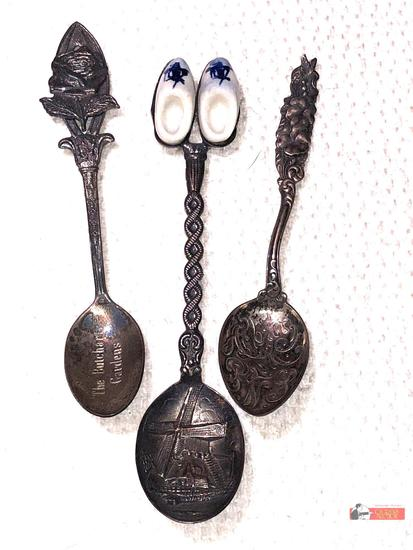 Collector Spoons - 3 sterling, Holland, Butchart Gardens, Ashbury Park NJ Boardwalk