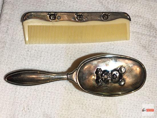 Baby items - silver plated brush & matching comb, bears motif