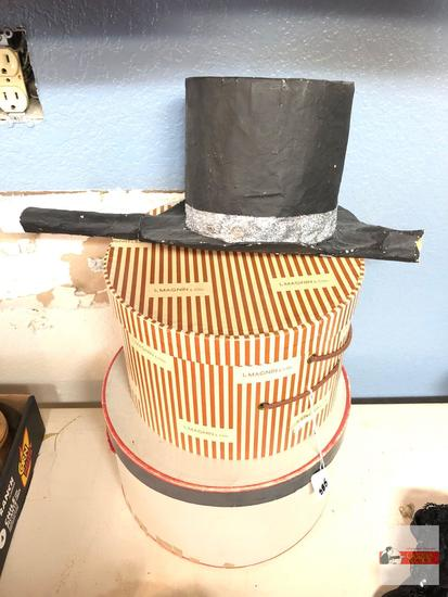 2 hat boxes, 1 Brandeis, 1 I.Magnin and homemade top hat prop
