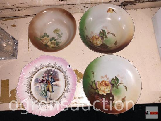 4 vintage dishes, 2 hand painted floral bowls, 1 plate and vintage German marked plate 10""