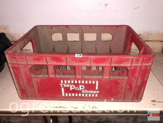 "Vintage The Pop Shoppe crate, red, 17.5""wx12""w"
