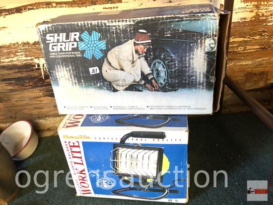 Work lite 500 watt, orig. box quartz/halogen & Shur Grip tire chains