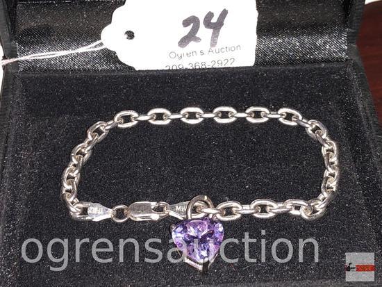 Jewelry - Bracelet - sterling silver bracelet w/ amethyst heart charm