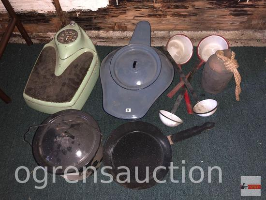 Granite ware bed pan, dishes, vintage scale (heavy) etc.
