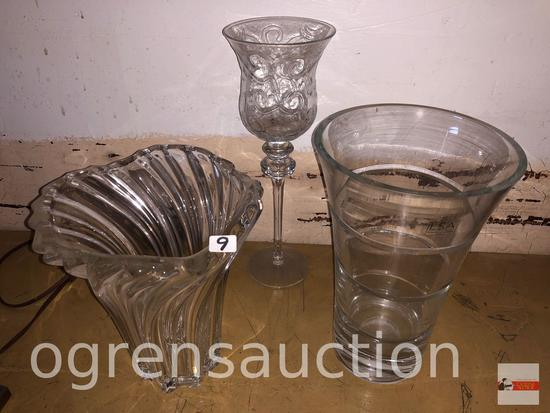 Glassware - 3 - 2 lg. vases and 1 candle glass