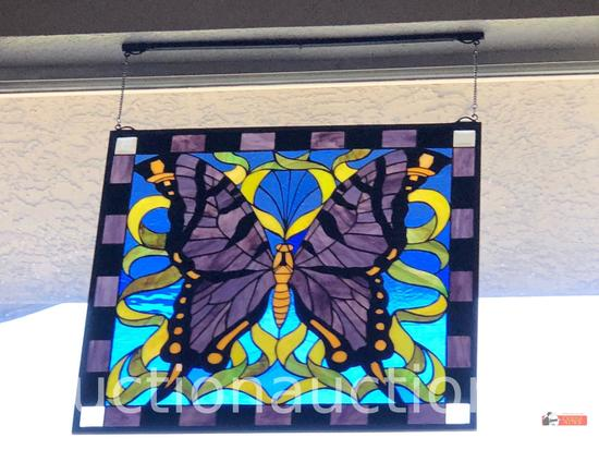 Stained Glass Panel - Lg. square Butterfly motif stained glass panel