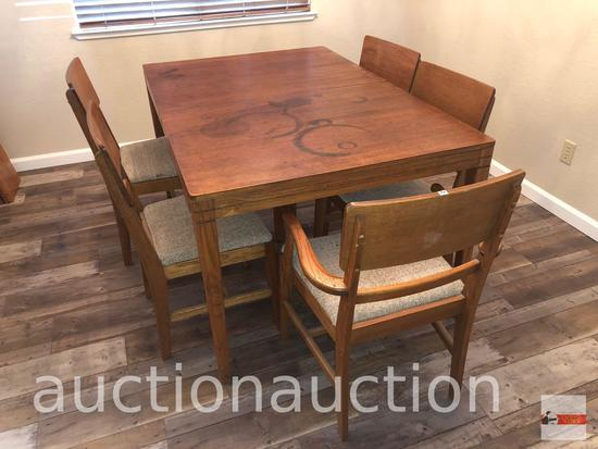"""Furniture - Table and 5 upholstered seated chairs, 4 side, 1 captains, (table top stained), 40""""X60"""""""