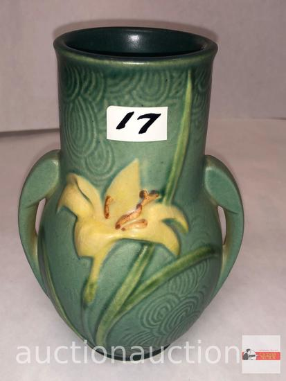 """Roseville Pottery - 1946 Zephyr Lily #130-6 green, double handle vase, 6.25""""h"""