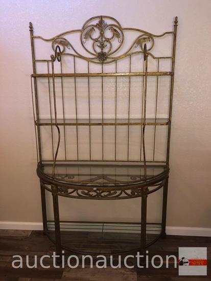 "Furniture - Lg. iron baker's rack, 4 glass shelves, 49.5""wx20.5""dx82""h"