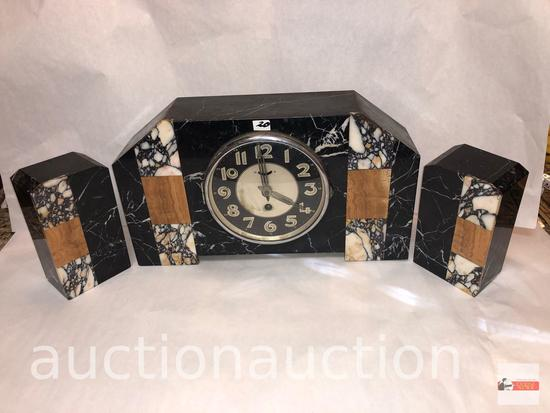 """Art Deco marble mantle clock 15""""wx3.5""""dx8.5""""h with 2 matching bookends, 3.75""""wx2.5""""dx6.5""""h"""