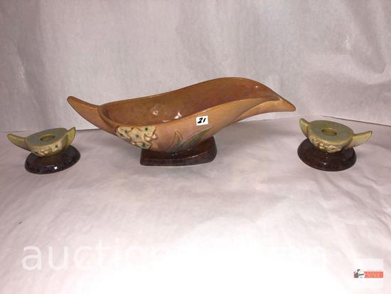 Roseville Pottery - 1948 Wincraft console bowl #227-10, Brown & pr. Wincraft brown candleholder #251