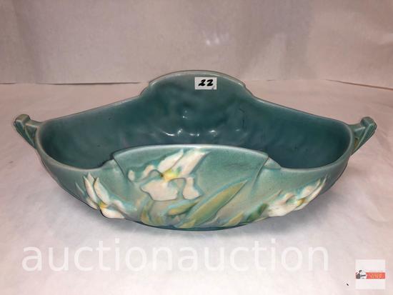 """Roseville Pottery - 1939 Iris console bowl, #362-10, blue, 12.5""""wx6.75""""dx3.75""""h"""