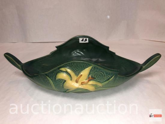 """Roseville Pottery - 1946 Zephyr Lily console bowl, #475-10, green, 14""""wx7""""dx3.75""""h"""