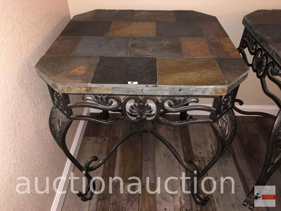 """Furniture - Ashley World Class occasional collection, slate top iron end table, 26""""wx26""""wx28.5""""h"""