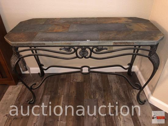 """Furniture - Ashley World Class occasional collection, slate top iron sofa table, 48""""wx20""""dx29.5""""h"""
