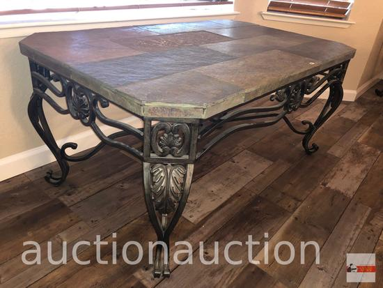 """Furniture - Ashley World Class occasional collection, slate top iron coffee table, 48""""wx28""""dx22""""h"""