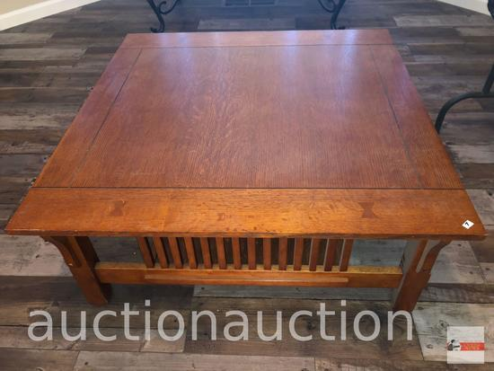 """Furniture - Mission styled oak square coffee table, 38""""wx38""""wx16""""h"""