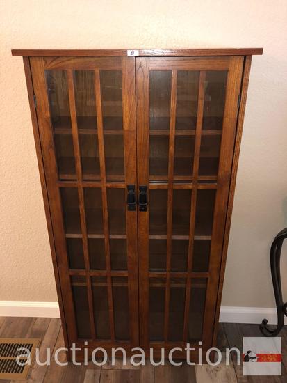 """Furniture - Mission styled oak display cabinet, 5 shelves, 2 door, 26""""wx9""""dx48""""h"""