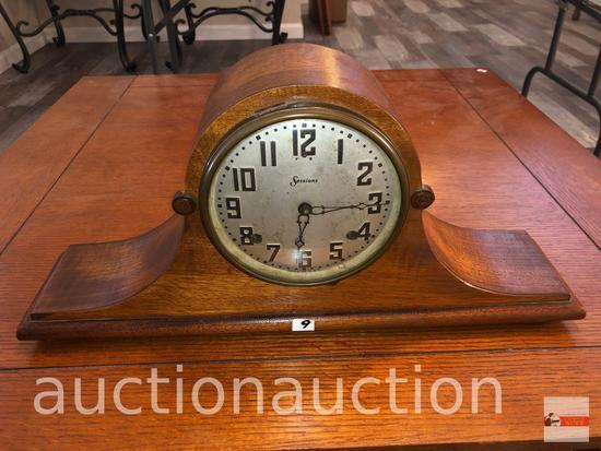 "Clock - Sessions camel back mantle clock, 21""wx4.5""dx10""h"