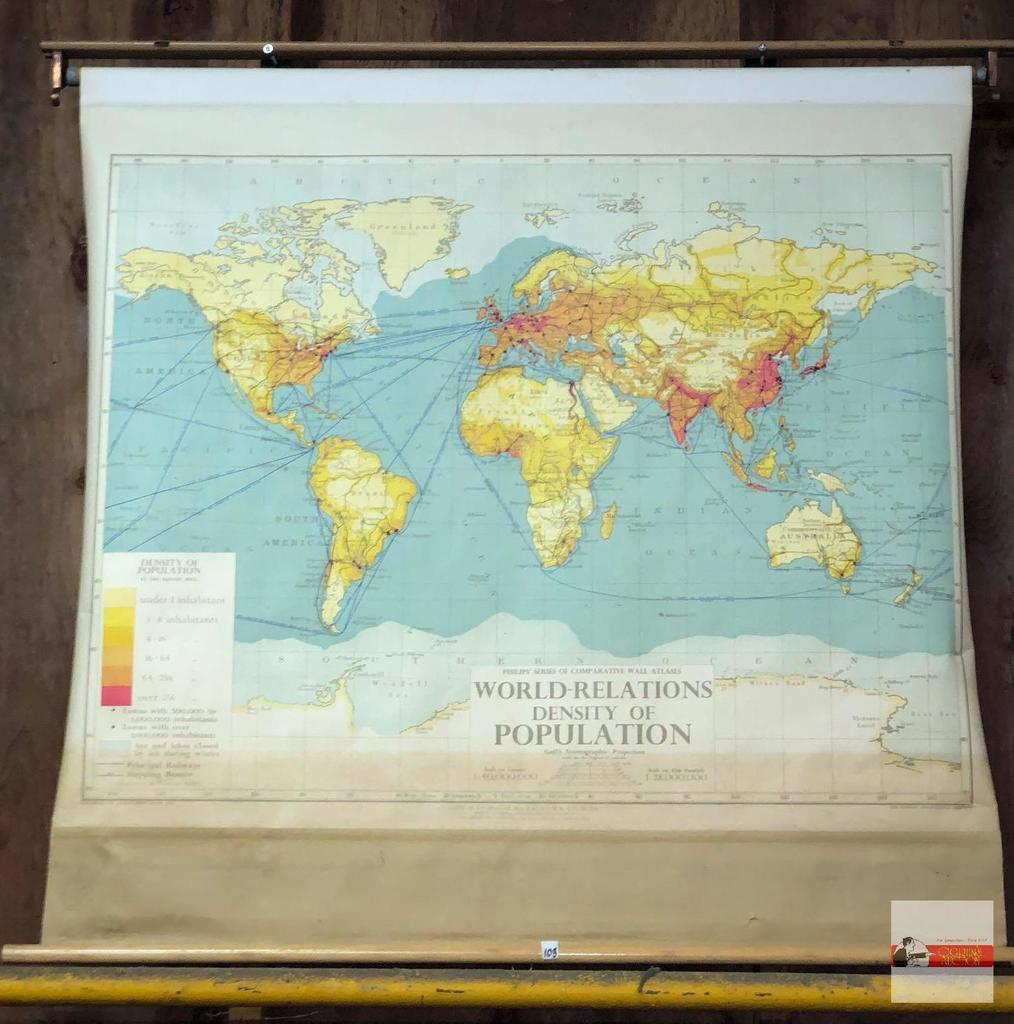 1948 World Map.Lot Maps Lg Vintage Wall Map 1948 World Relations Of Population