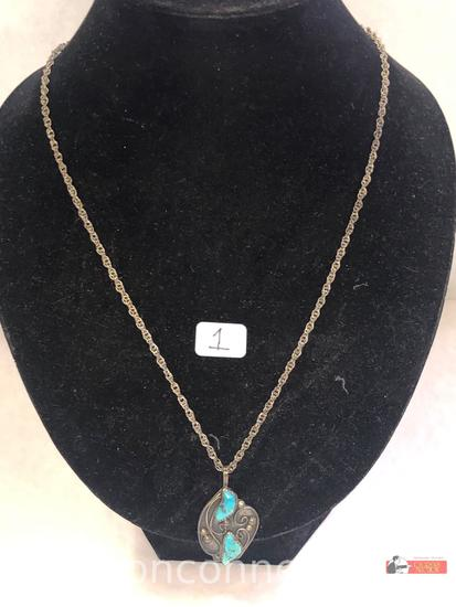 Jewelry - Necklace with Indian turquoise pendant, marked