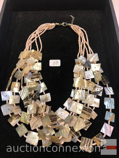 """Jewelry - Necklace, Multi strand mother of pearl square & round beads, 9.5""""h"""