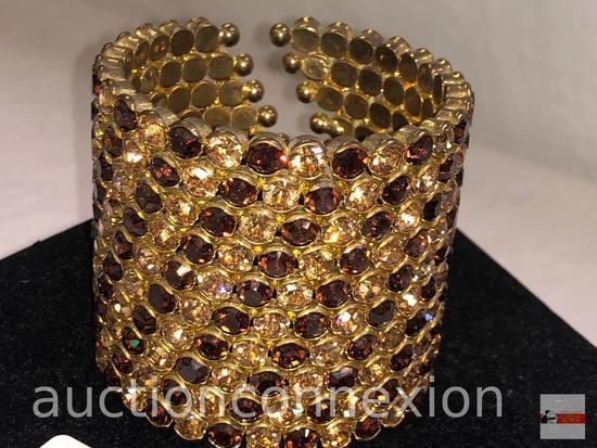 "Jewelry - Wide Jeweled rhinestone cuff bracelet, 2.5""h"