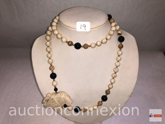 Jewelry - Necklace, lg. stone beaded with carved elephant, long